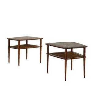 Peter hvidt and orla molgaardnielsen france  sons pair of occasional tables denmark 1950s teak and woven cane stamped and marked with retailers label each 23 x 25 34 x 28