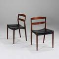 Bender madsen and ejner larsen willy beck pair of side chairs denmark 1950s rosewood and leather unmarked each 30 12 x 20 12 x 19