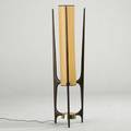 Rispal floor lamp france 1950s sculpted walnut vellum and brass unmarked 45 x 12 dia