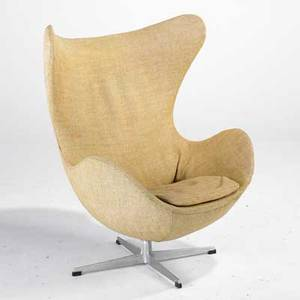 Arne jacobsen fritz hansen egg chair denmark 1960s wool and polished aluminum unmarked 42 x 34 12 x 32