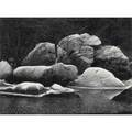 John sexton black  white photograph frost covered boulders 1980 signed 9 58 x 13 image
