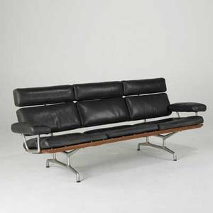 Charles  ray eames herman miller aluminum group sofa usa 1990s leather polished aluminum and sculpted walnut herman miller foil label 33 x 81 x 32 retailed by design within reach