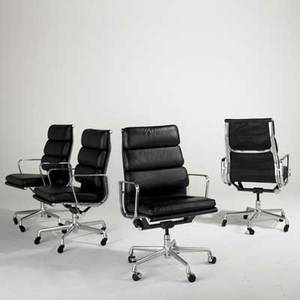 Charles  ray eames herman miller aluminum group set of four office chairs usa 1990s leather polished aluminum and enameled steel paper labels each 41 x 23 x 23