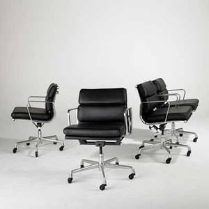 Charles  ray eames herman miller aluminum group set of four office chairs usa 1990s leather polished aluminum and enameled steel paper labels each 34 x 23 x 23