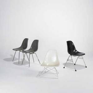 Charles  ray eames herman miller four shell chairs usa 1980s fiberglass chromed and zincplated steel embossed herman miller tallest 31 12