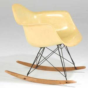 Charles  ray eames zenithherman miller rocking chair usa 1940s fiberglass enameled metal and birch decal label 27 x 25 x 25