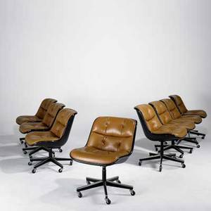 Charles pollack knoll international set of eight chairs usa 1970s leather plastic enameled metal and chromed steel makers labels each 33 x 24 x 29
