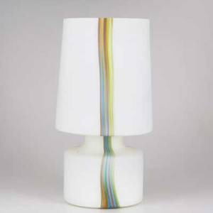 Laurel table lamp frosted glass with multicolor vertical striping paper label 22 12 x 12 dia