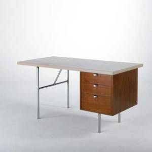 George nelson herman miller desk usa 1950s laminate walnut and brushed steel unmarked 30 x 60 x 30