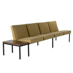 Steelcase modular sofa usa 1960s enameled steel wool and laminate unmarked 30 x 107 x 28