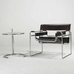 Marcel breuer and eileen gray wassily lounge chair and adjustable side table usa 1970s chromed steel leather and glass knoll label on chair chair 29 x 31 x 27 and table 26 x 20 12 dia