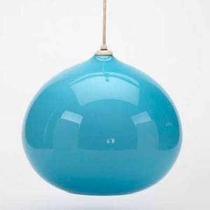 Italian chandelier blue cased glass globe white cable and ceiling cap unmarked fixture 12 x 13 dia