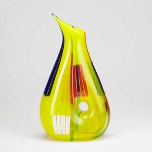 After anzolo fuga contemporary art glass vase after bandiere vase murano foil label 17 12 x 9 12 x 4 12