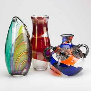 Contemporary glass group three pieces tallest 14