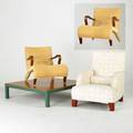 Bb italia pair of wicker lounge chairs and upholstered lounge chair together with and a low large coffee table italy 1990s upholstery cane cherry and plastic coated wood fabric label to uphols