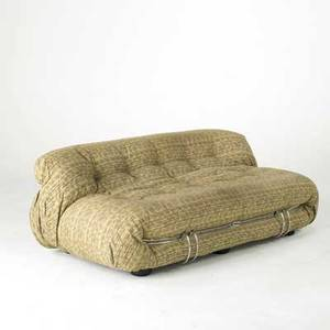 Afra  tobia scarpa cassina sofa italy 1960s upholstery chromed plated steel and plastic paper labels 26 x 70 x 39