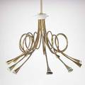 Lighting fixture brass and painted metal fixture italian or french ca 1950 45 x 26 dia