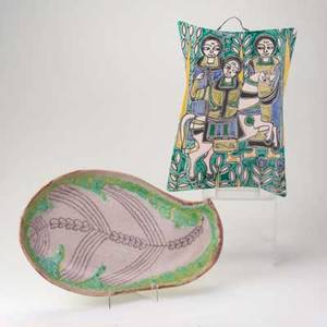 Guido gambone fantoni glazed ceramic platter ceramic plaque with figures italy mid 20th c platter 17 x 10
