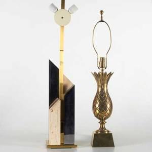 Gaetano sciolari roma etc two lamps chrome brass and travertine italy 1960s together with brass pineapple lamp sciolari marked 37 x 20 sq