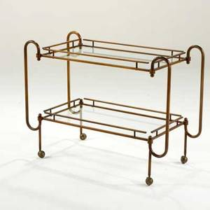 Italian modern bar cart 1950s60s bronze and glass unmarked 30 x 40 x 18 34