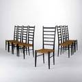 Style of gio ponti set of eight ladderback chairs italy 150660s painted wood and woven sisal stamped made in italy each 44 x 17 x 17