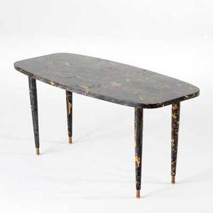 Italian modern coffee table 1950s marble and brasss unmarked 19 x 39 12 x 18 12