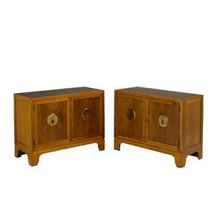 Michael taylor baker pair of cabinets usa 1960s walnut oak and brass metal labels each 30 x 40 x 18 14