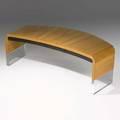 Vladimir kagan vladimir kagan designs inc crescent desk usa 1970s plexiglass ash and lacquered wood foil label 27 34 x 89 12 x 35 12