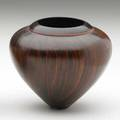 Bud latven vessel usa 1986 maple burl and bloodwood signed and dated 3 34 x 4 14