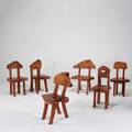 Chris cosner set of six dining chairs usa 2000s solid burled oak unmarked largest 35 x 24 12 x 22