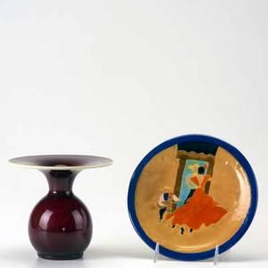 Studio pottery catalina pottery vase in oxblood glaze with large flared rim together with san jose plate catalina vase signed vase 6