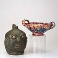 Studio pottery face jug by sam mannis together with pottery polychrome handled basket by ar cole both marked jug 10