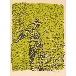Mark tobey american 18901976 lithograph in colors of abstracted figure 1967 framed signed dated and numbered 3450 12 12 x 9 14 sight