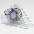 Robert dane geometric sculpture 1983 colored textured and wire embedded glass signed and dated 5 12 x 10 x 7