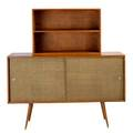 Paul mccobb winchendon twodoor cabinet with hutch usa 1950s birch canvas and aluminum branded overall 62 12 x 60 x 18 14