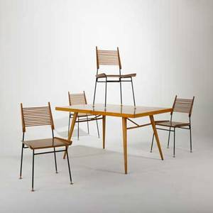 Paul mccobb winchendon dining table with two inserts and four dining chairs usa 1950s birch and enameled iron unmarked table 29 x 54 x 36 each insert 36 x 15 and chairs 34 12 x 20 x