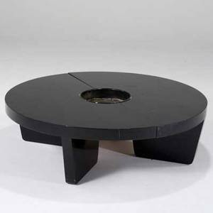 Harvey probber harvey probber inc nuclear coffee table usa 1950s ebonized wood and painted metal unmarked as shown 14 x 48 dia