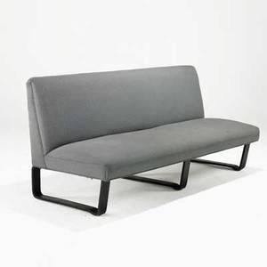 Edward wormley dunbar sofa usa 1940s laminated mahogany wool upholstery unmarked 33 12 x 73 x 30 12
