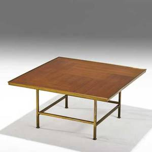 Edward wormley dunbar coffee table usa 1950s tawi and brass brass dunbar label 19 14 x 38 12 sq