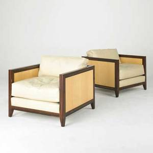 Interior crafts pair of club chairs usa 1980s macassar satin wood and fine leather fabric labels each 30 x 33 x 34