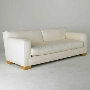 John hutton donghia sofa usa 1980s sculpted wool upholstery on wood block feet fabric label 30 12 x 86 x 37