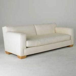 John hutton donghia sofa usa 1980s sculpted wool upholstery on wood block feet fabric label 30 12 x 86 x 37