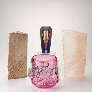 Contemporary art glass four pieces twopiece cast glass and ceramic sculpture michael david and kit karbler cased glass vase and pink glass vessel with applied face and limb decoration all marked