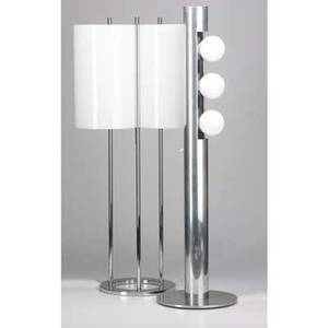 Paul mayen habitat tall table lamp and floor lamp acrylic chromed steel and polished aluminum unmarked floor lamp 36 12 x 10 dia