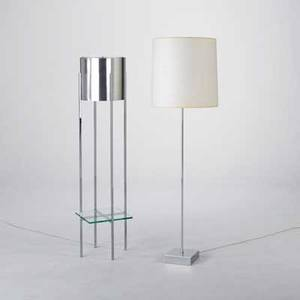 Paul mayen habitat two floor lamps usa 1980s polished aluminum acrylic chromed steel and linen one lamp signed taller 57 12 x 17 dia