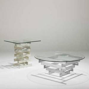 Paul mayen habitat coffee table and matching side table usa 1980s chromed steel polished aluminum and glass unmarked coffee table 15 12 42 dia and side table 25 12 x 26 sq