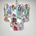 Glass chandelier twotired fixture usa 1970s iridescent glass pendants and chromed steel 23 12 x 12 dia