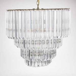 Lucite chandelier fourtiered brass and lucite fixture unmarked 25 x 24 dia
