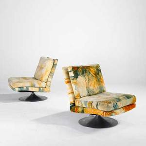 Milo baughman thayer coggin pair of tilt and swivel lounge chairs usa 1970s velvet on polished aluminum base fabric labels each 30 x 25 x 33 12
