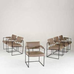 Milo baughman thayer coggin set of six dining chairs usa 1980s leather and enameled metal unmarked each 30 x 23 x 24